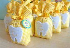 Gift yellow lavender pouches for dental party - - Lavender Bags, Lavender Sachets, Baby Party, Baby Shower Parties, Baby Boy Hairstyles, Gifts For Dentist, Party Organization, First Tooth, Kids Party Themes