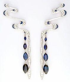 Japanese Princess: Hokusai Water Earrings. Brilliant-cut diamonds, marquise-cut sapphires, blue enamel, 18ct white gold