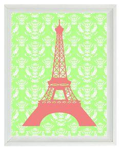 Paris Eiffel Tower Art Print  - French Damask Pink Green Girl Nursery Wall Art Home Decor 8x10