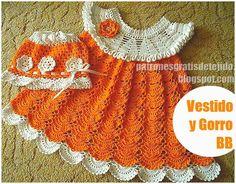 Vestido para princesita! tejido al crochet, en hilo macramé combinando tonos blanco y naranja. En l...