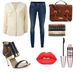 Untitled #8 by roxanalavricuti on Polyvore featuring polyvore fashion style Joie 7 For All Mankind BCBGMAXAZRIA Carvela Kurt Geiger Yves Saint Laurent Lime Crime Maybelline
