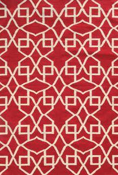 Pantone Universe Matrix Flat Weave Ornate Lattice Rug X (Red/ Ivory) (Wool, Geometric)