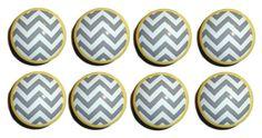 Handmade Grey and Yellow Zig Zag Dresser Drawer Knobs - Set of 12 on Etsy, £21.16