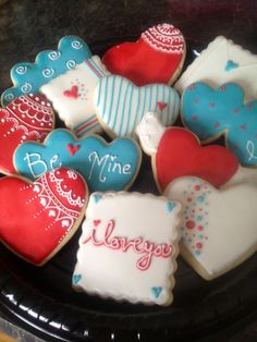 Valentine Cookies (bright teal blue, red and white)