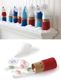 Advent Calendar Elves made from Toilet Paper Tubes. How cute!