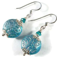 Handmade Earrings, Aqua Art Deco Glass, Crystal, Sterling Silver via Etsy.
