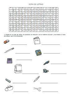 Les quichotteries de Delphine: sopa de letras : el material escolar