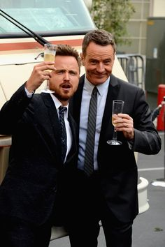 When they drank champagne together like the classy gentlemen they are:   23 Times Bryan Cranston And Aaron Paul Blessed The World In 2013