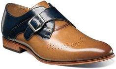 Stacy Adams Men's Saxton Wingtip Monk Strap 25178 Tan/Navy (Blue) Smooth Leather (us men's 12 (mns m (medium)) Buy Shoes, Men's Shoes, Shoe Boots, Dress Shoes, Shoes Men, Men Sneakers, Men Dress, Stacy Adams Shoes, Lace Oxfords