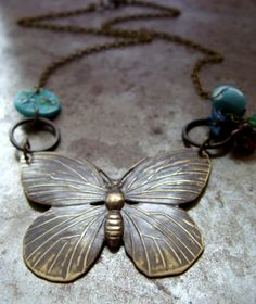 Brass Butterfly & Willow Flower Pendant Necklace - 3 Colors Available | Humblebeads Jewelry