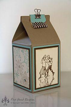 Caixa de leite - tetra pack - Stampin' Up! Milckarton Winterpost Serene Snowflakes