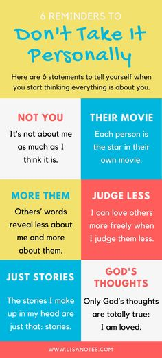"""It's not about you - 6 reminders to """"Don't Take It Personally"""""""