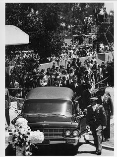 "Marilyn Monroe's funeral..... sad fact: marilyn was set to remarry dimaggio right before her death, actually the day of her funeral was to have been the date of her re-marriage to joe ... 8/8/62.  hes quoted saying ""instead of kissing you at the alter, i kissed you in your casket."" so sad."