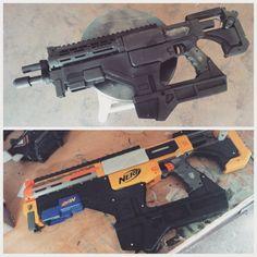 Working on my destiny fusion rifle prop. gotta love nerf guns xD #destiny #destinycosplay #hunter #destinyhunter #guardian #bungie #artist #prop #cosplayprop #evafoam #maker #nerfgun #wip #painting #like #follow