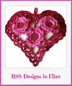 "Big Red Heart - Irish Crochet with Roses by @rssdesignsfiber - RSS Designs In Fiber - is in the  Handmade Valentine Great Finds by @onfire4handmade for week starting Jan. 29, 2017 - Contest is up! This week you will find beautiful creations in the colors of Love... Red, Pink and White.  ~~~ Vote for ""RSS Designs In Fiber"" ~~~"