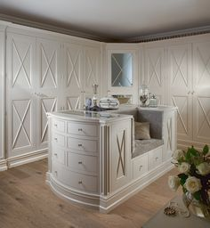 """Cozy"" closet in all it's loveliness. Gallery - Hayburn & Co. Love the built in bench on the island"