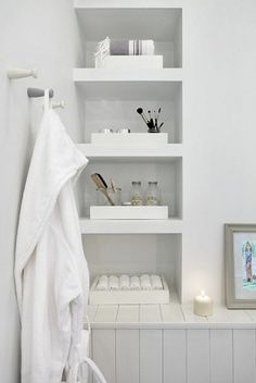 bathroom built in shelves. home decor and interior decorating ideas. Decor, Laundry In Bathroom, Shelves, Interior, Home Decor, House Interior, Bathrooms Remodel, Bathroom Decor, Bathroom Inspiration
