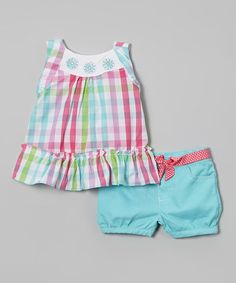 Another great find on #zulily! Aqua & Pink Plaid Top & Shorts - Infant & Toddler #zulilyfinds