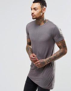 Super Longline Muscle T-Shirt In Slinky Rib With Asymmetric Hem