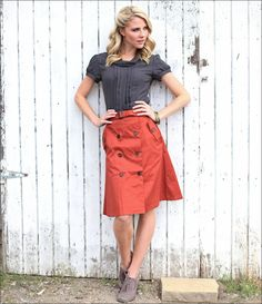 I absolutely LOVE Mikarose!! Trench Button Skirt - $39.99 : Mikarose Fashion, Reinventing Modest Fashion
