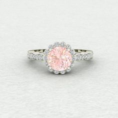 7mm Round Champagne Sapphire Flower Halo Cluster and Scalloped Conflict Free Diamond Engagement Ring LCDH042
