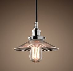 Ribbed Glass Filament 7½ Pendant Polished Nickel