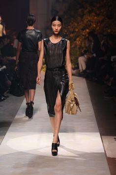 Black Woven Napa Dress.  Oro Suede 'Cartera' Bag.  Black Leather Belt.  Black floral leather mule.