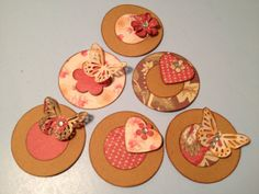 Scrapbooking Embellishments, Cards, Tags, Paper Supply, Off the Beaten Path, Cardstock, Circles, Butterflies, Decoration, Set of 6, OOAK