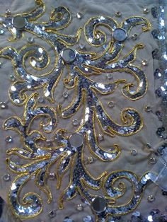 Cornelly embroidery w/sequins, soutache,rhinestones and glass mirrors on nude marquesette