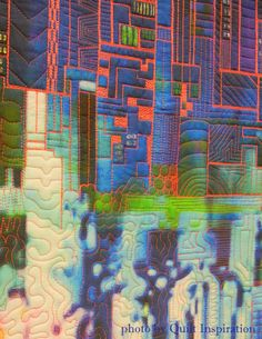 Not a City by Betty Hahn.  Digital quilt on silk.  2015 AZQG, closeup photo by Quilt Inspiration