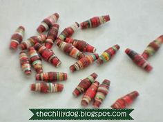 Tutorial: Paper Beads - How to make ultra-upcycled paper beads with magazine or catalog pages and Glu6 recycled styrofoam glue.