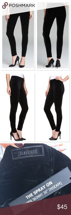 🎉Host Pick 🎉Blank NYC super skinny velvet jeans Showcase your scandalous chic in a piece wrapped in [BlankNYC]™ style. Size 25 and 26 The spray on features a super-skinny jegging fit for a sleek, lean silhouette. Soft and luxe velvet fabrication. Branded hardware. Black leather brand patch at back. Inset rivet detail at back left pocket. Five-pocket design. Belt-loop waistband. Zip fly with button closure. Machine wash and tumble dry. Imported. 20% off when you purchase more than 1 item…