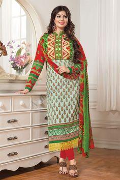 Green Designer Party Wear Salwar Suit From Hdbazaar. Indian Salwar Kameez, Churidar Suits, Salwar Kameez Online, Suit Fabric, Designer Salwar Suits, Pakistani Designers, Types Of Dresses, Green Cotton, Party Wear