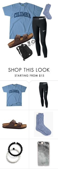 """Chill school day!!"" by chelleybeans ❤ liked on Polyvore featuring Columbia, Birkenstock, Talbots, Lokai, Casetify and The North Face"