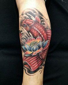 24 koi fish tattoo on leg