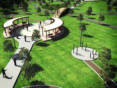 parques diseño | Proyecto LAMBDA [λ]: Diseño de Parque Urbano en Reynosa Landscape Architecture Drawing, Landscape And Urbanism, Park Landscape, Landscape Plans, Urban Landscape, Landscape Design, Amphitheater Architecture, Parque Linear, Plaza Design