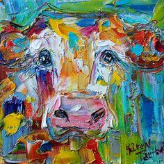 Original oil painting Cow portrait 6x6 palette by Karensfineart