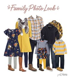 Trying to decide what to wear for family pictures? Here is the perfect coordinating look! It has lots of Navy, Mustard Yellow and Plaid! Picture perfect for a family look! This link also had 7 other looks including some that are perfect for Christmas! Navy Family Pictures, Fall Family Picture Outfits, Family Portrait Outfits, Family Pictures What To Wear, Family Picture Colors, Summer Family Photos, Family Portraits What To Wear, Family Posing, Family Pics