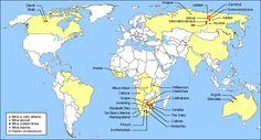 Mapa de los países productores, de los yacimientos y de las minas de diamantes