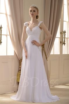 TBDress - TBDress Empire V-neck Sweep Train Wedding Dress - AdoreWe.com