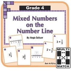 This set of 36 printable cards will help students learn two important ways to represent mixed numbers on the number line, called for by CCSS 4.NF.3b. See the brief instruction cards for four games to play with any card set. ~by Angie Seltzer.