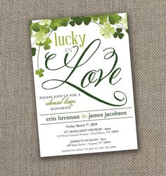 Lucky in Love. Rehearsal Dinner Invitation. Irish Wedding. DIY