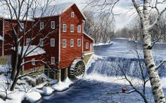 Augusta Dells Mill by Kathy Glasnap Christmas Scenes, Christmas Art, Xmas, Snow Scenes, Winter Scenes, Polymer Clay Painting, Winter Art, Winter Snow, Le Moulin