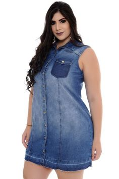 Vestido Jeans Plus Size Vestidos Plus Size, Plus Size Dresses, Plus Size Outfits, Womens Clothing Stores, Plus Size Womens Clothing, Clothes For Women, Plus Size Jeans, Curvy Fashion, Plus Size Fashion