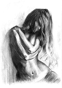 Nude Pencil Drawing Woman fine art by GkArtStudio on Etsy
