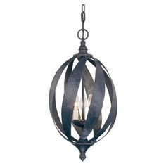 Openwork three-light pendant in slate.   Product: PendantConstruction Material: Metal and glassColor: ...