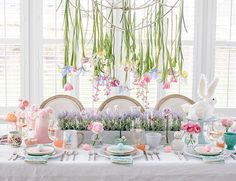 Setting a Whimsical Pastel Easter Brunch Table with hanging florals - Inspired By This