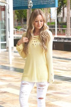 Lace-Up Spring Sweater |3 Colors| – Boutique Amore