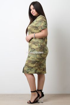 Camouflage Thermal Knit Decorative Button Dress. This is definitely your king of fashion!   >#PlusSizeFashion #CurvestoAdore #PlusisSexy #IloveFashion #ShopPlusSizeFashion #costumejewelry #shoelover #handbags #lingerie #plussizelingerie #plussizeclothing #accessories