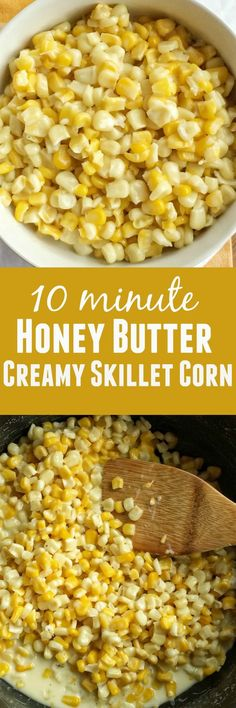 minute} Honey Butter Creamy Skillet Corn: family loved it LEM Corn Recipes, Side Dish Recipes, Veggie Recipes, Vegetarian Recipes, Cooking Recipes, Yummy Recipes, Dinner Recipes, Skillet Corn, Gourmet